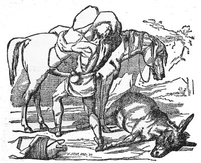 The countryman then took the whole burden, and laid it upon the Horse, together with the skin of the dead Ass.